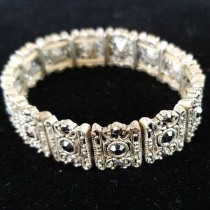 Vintage Jewelry - Vintage Silvertone Filigree Rhinestone Bracelet